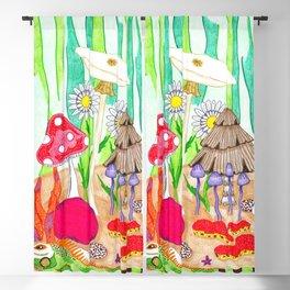 Iguana and Mushrooms Blackout Curtain