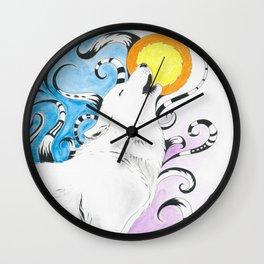 Wolf Spirit Howl Tribal Moon Ink Art Wall Clock
