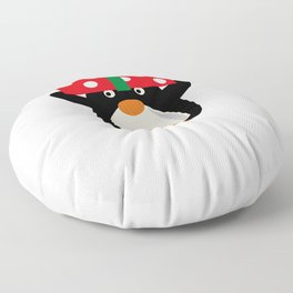 Christmas Penguin Holding a Christmas Present Floor Pillow