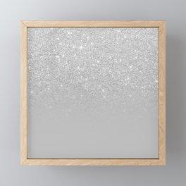 Trendy modern silver ombre grey color block Framed Mini Art Print