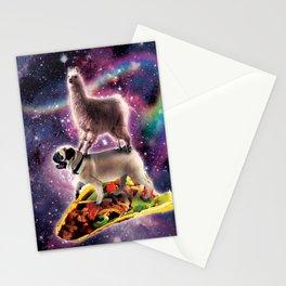 Rainbow Space Llama On Pug Riding Taco Stationery Cards