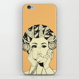The woman with the curlers iPhone Skin