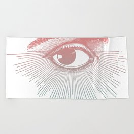 I See You. Pink Turquoise Gradient Sunburst Beach Towel