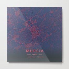 Murcia, Spain - Neon Metal Print