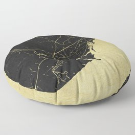 Barcelona Black and Gold Map Floor Pillow