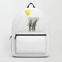 Elephant Watercolor Yellow Balloon Whimsical Baby Animals Backpack