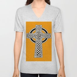 St Patrick's Day Celtic Cross Black and White Unisex V-Neck