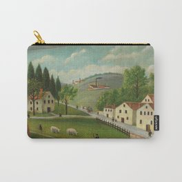 Pastoral landscape with stream, fisherman and stroller Carry-All Pouch