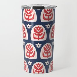 Mid Century Modern Sunflower Blue and Red Travel Mug