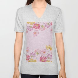 colorful cosmos flwoer in pink background Unisex V-Neck