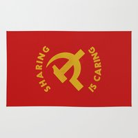 marx Area & Throw Rugs featuring Sharing Is Caring by Landon Sheely