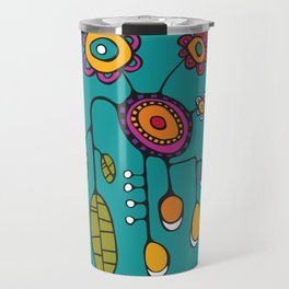 Flower Pot in Color on Teal Travel Mug