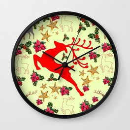 DECORATIVE LEAPING RED DEER  & HOLY BERRIES CHRISTMAS  ART Wall Clock