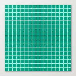 Paolo Veronese green - green color - White Lines Grid Pattern Canvas Print