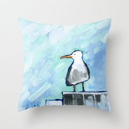 Skipper Seagull Throw Pillow