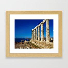 Ancient Temple of Poseidon  in Capo Sunio in Attica Greece Framed Art Print