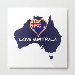 Love Australia Silhouette Map With Flag Metal Print