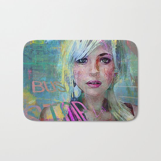 bus stop girl  Bath Mat