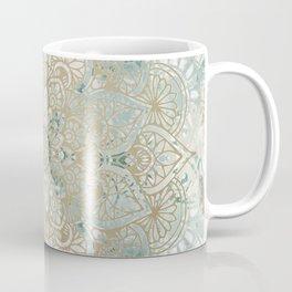 Mandala Flower, Teal and Gold, Floral Prints Coffee Mug