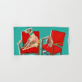 animals in chairs #14 The Greyhound and the Hare Hand & Bath Towel