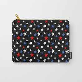 Bold Patriotic Stars In Red White and Blue on Black Carry-All Pouch