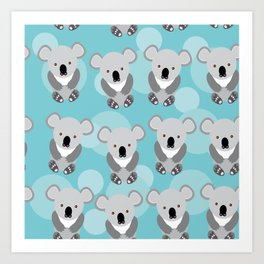 koala Seamless pattern with funny cute animal on a blue background Art Print