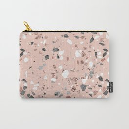 Pink Quartz and Marble Terrazzo Carry-All Pouch