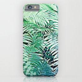 Blue Green Ferns Rough Pastel  Texture Pattern iPhone Case