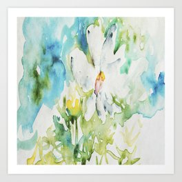 White Daisy Doodle watercolor by CheyAnne Sexton Art Print