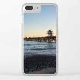 San Clemente Pier at sunset Clear iPhone Case