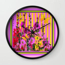 YELLOW BUTTERFLIES  PINK FLORAL GARDEN  ABSTRACT Wall Clock