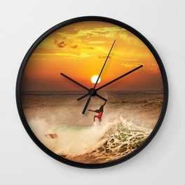 The Art Of Surfing In Hawaii 10 Wall Clock