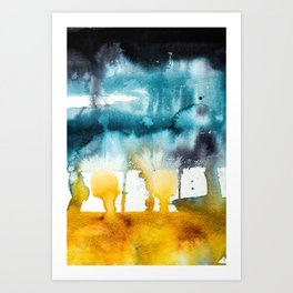 Fall Storm watercolor Art Print