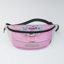 Pink Door with Holiday Wreath in Notting Hill London England Fanny Pack