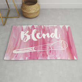 Pink Vanity Decor, Makeup Brush Illustration, Watercolour Rug