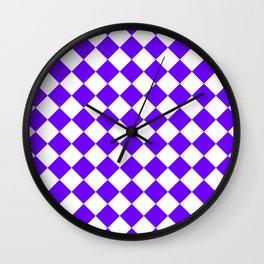 Diamonds - White and Indigo Violet Wall Clock