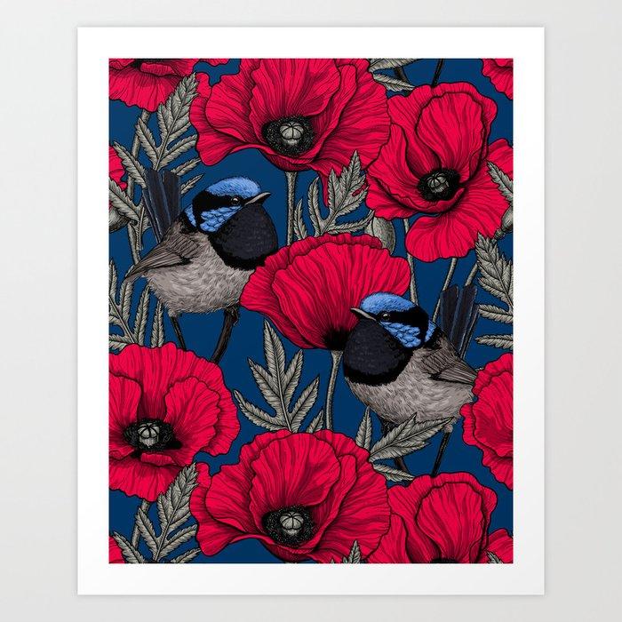 Fairy wren and poppies Art Print