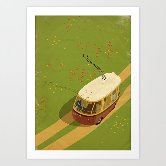 Trolley Rides The Field Art Print