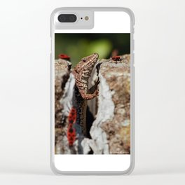 The random Lizard Clear iPhone Case