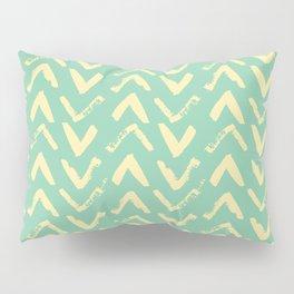 Modern Brush Stroke Chevrons - Green & Yellow Pillow Sham