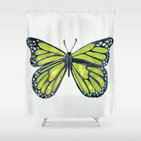 lime Shower Curtains featuring Lime Butterfly by Cat Coquillette