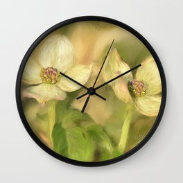 Double Dogwood Blossoms In Evening Light Wall Clock
