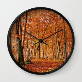 Autumn in the forest Wall Clock