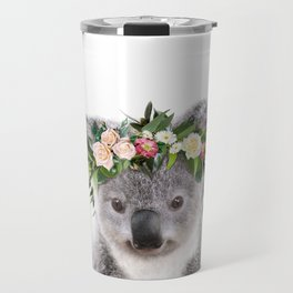 Baby Koala With Flower Crown, Baby Animals Art Print By Synplus Travel Mug