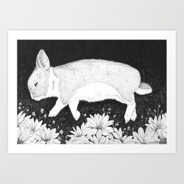 bunny in black and white Art Print