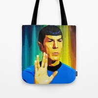 spock Tote Bags featuring Spock by The Art Of Gem Starr