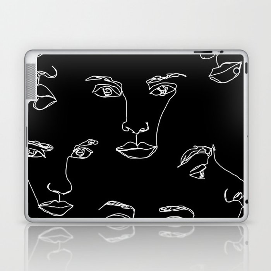 Faces one line illustration - Cyra Laptop & iPad Skin