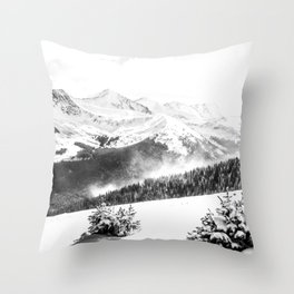 Fresh Snow Dust // Black and White Powder Day on the Mountain Throw Pillow