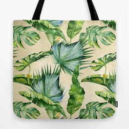 Green Tropics Leaves on Linen Tote Bag