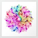 Rainbow Watercolor Paisley Floral by micklyn
